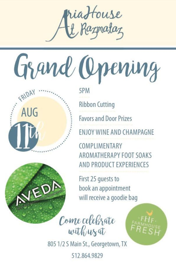 aria house spa open house flyer
